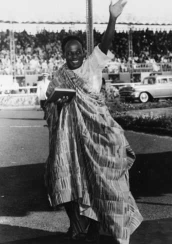 7th March 1957: Ghanian Prime Minister Kwame Nkrumah (1909 - 1972) arrives at the Assembly House in Accra for the opening of the new Parliament and the declaration of Ghana's Independence by the Duchess of Kent. (Photo by Central Press/Getty Images)